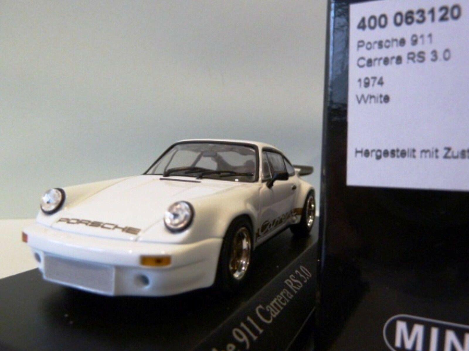 Wow extrêmement rare PORSCHE 911 RS 3.0 or Blanc 1974 1 43 Minichamps-SPARK-GT2