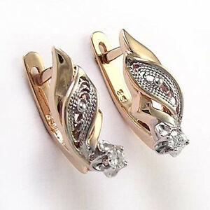 Russian Style Jewelry 18k Rose White Gold Genuine Diamond Earrings