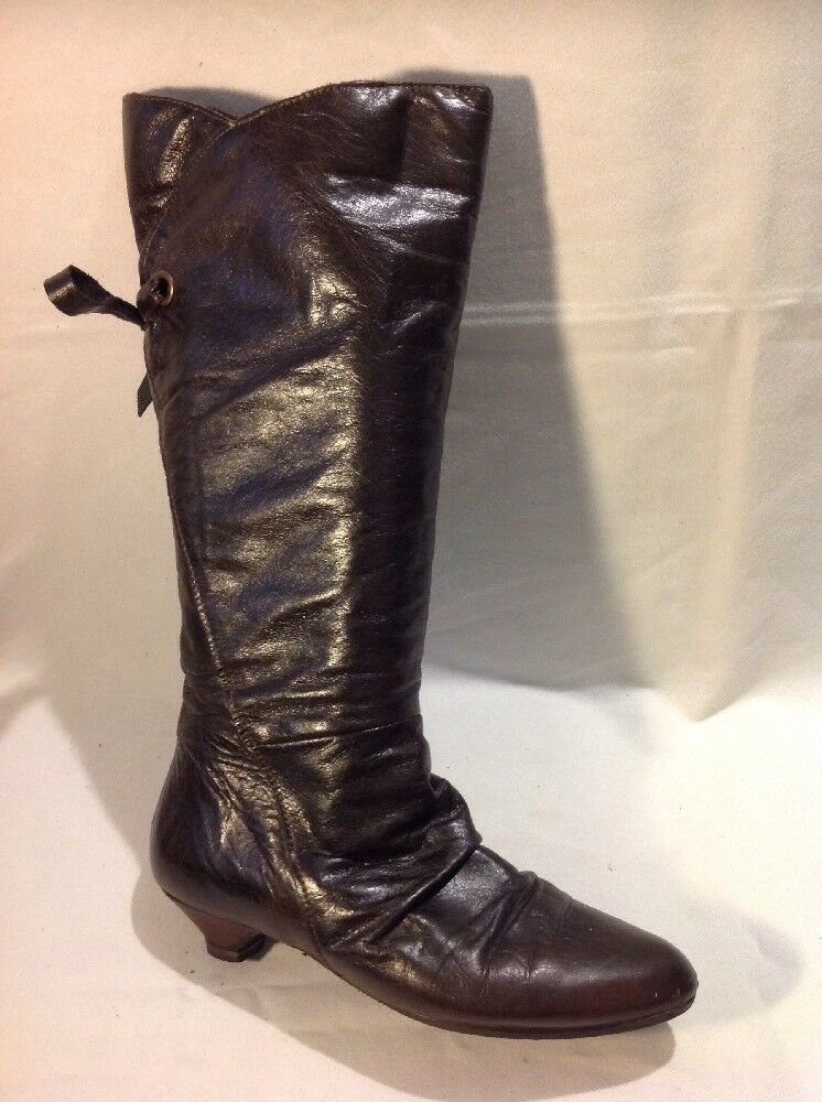 Carvela Brown Mid Calf Leather Boots Size 3