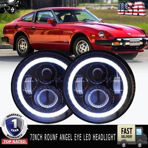 """7"""" LED Headlight Halo Datsun 240Z 260Z 280Z 280ZX 1970-78 Headlamp Bulb Lights"""