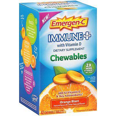Emergen-C Immune Plus Supplement Orange Blast Flavor 42 Chewables Each