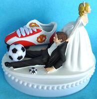 Wedding Cake Topper Manchester United Man U. Soccer Futbol Themed Bride Groom's
