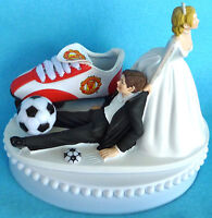 Wedding Cake Topper Manchester United Man U. Soccer Futbol Themed Bride Groom's
