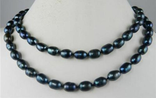 """Long 36/"""" 7-8 mm Genuine Natural Rice Black Akoya Cultured Pearl Bijoux Collier"""