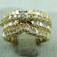 18K Yellow Gold Filled CZ Engagement Wedding Women Band Ring Set R5590 Size 5-10