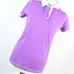 Royal-Society-Lila-Baumwolle-Damen-Poloshirt-Gr-L