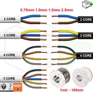 2 3 4 5 CORE ELECTRICAL FLEX ROUND CABLE WIRE 0.75mm 1mm 1.5mm 2.5mm BLACK WHITE