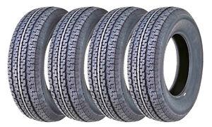 Set 4 FREE COUNTRY Heavy Duty Radial Trailer Tires ST205/75R15 10PR Load Range E