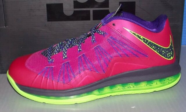 68b434bbda71 Nike Air Max Lebron X Low Basketball Shoes SNEAKERS 9.5 Rasberry Red ...