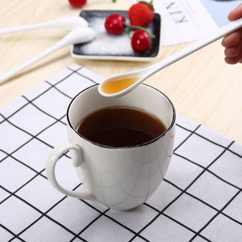 5Pcs Large Soup Spoon Ceramic Long Handle Coffee Scoop for Eating Soup Porridge