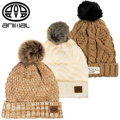 Animal Womens New Becki Winter Woolly Knit Faux Fur Bobble Pom Pom Beanie Hat