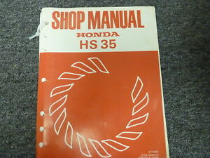 1981 honda hs35 single stage snowblower shop service repair manual rh ebay com Honda Snow Blowers Honda HS35 Snow Thrower Spark Plug