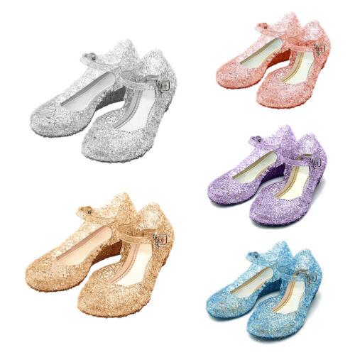 Kids Girl Frozen Princess Crystal Jelly Shoes Summer Cosplay Dress Up Sandals UK