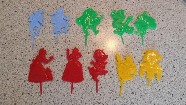 Vintage Birthday Candle Holders Lot Plastic F Mold Die Works Nursery Rhyme