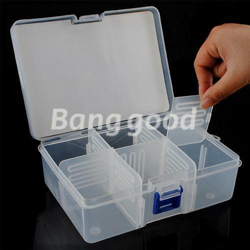 Storage Case Plastic Box 6 Compartment Removal Slats Container Nails Kit Tools