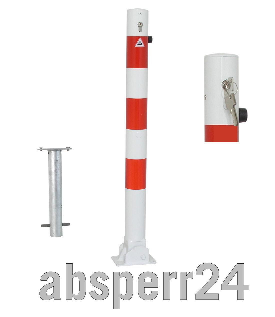 Absperrpfosten 76 mm Durchmesser umlegbar mit Profilzylinder und Bodenhülse