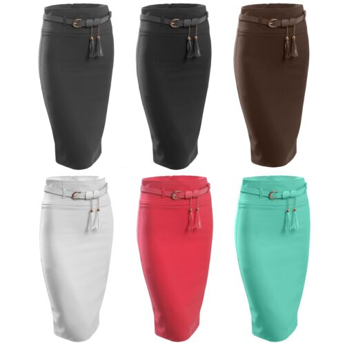 Womens Office Fitted High Waist Stretch Slim Midi Pencil Skirt with Belt NEWSK17