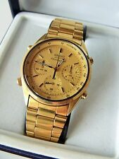 GENT'S GOLD PLATED SEIKO QUARTZ CHRONOGRAPH WRIST WATCH BOXED 7A28-7020