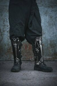 Medieva-LARP-Armor-Legs-Protection-Blackened-Dwarf-Style-Greaves-Steel-Armor