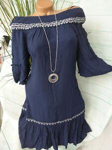 Vero Moda Kleid Damen Carmenkleid Gr. S bis XL blau ...