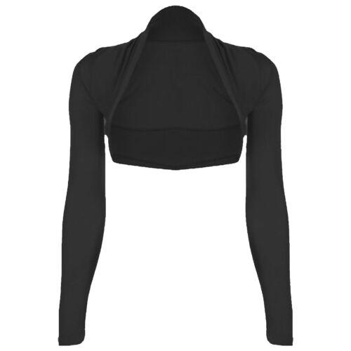 Womens Plain Long Sleeves Bolero Shrug Cropped Ladies Viscose Jersey Summer Top