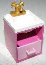 LEGO PINK BATHROOM SINK SET UP WHITE TOP CUPBOARD AND GOLD FAUCET