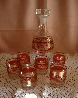 SERVICE DE 6 VERRES A WHISKY EN CRISTAL DE BOHEME carafe bouteille a vin flute