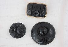 Set of 3 Victorian Jet / Vulcanite Items Brooch Loose Rose Cameo Target Antique