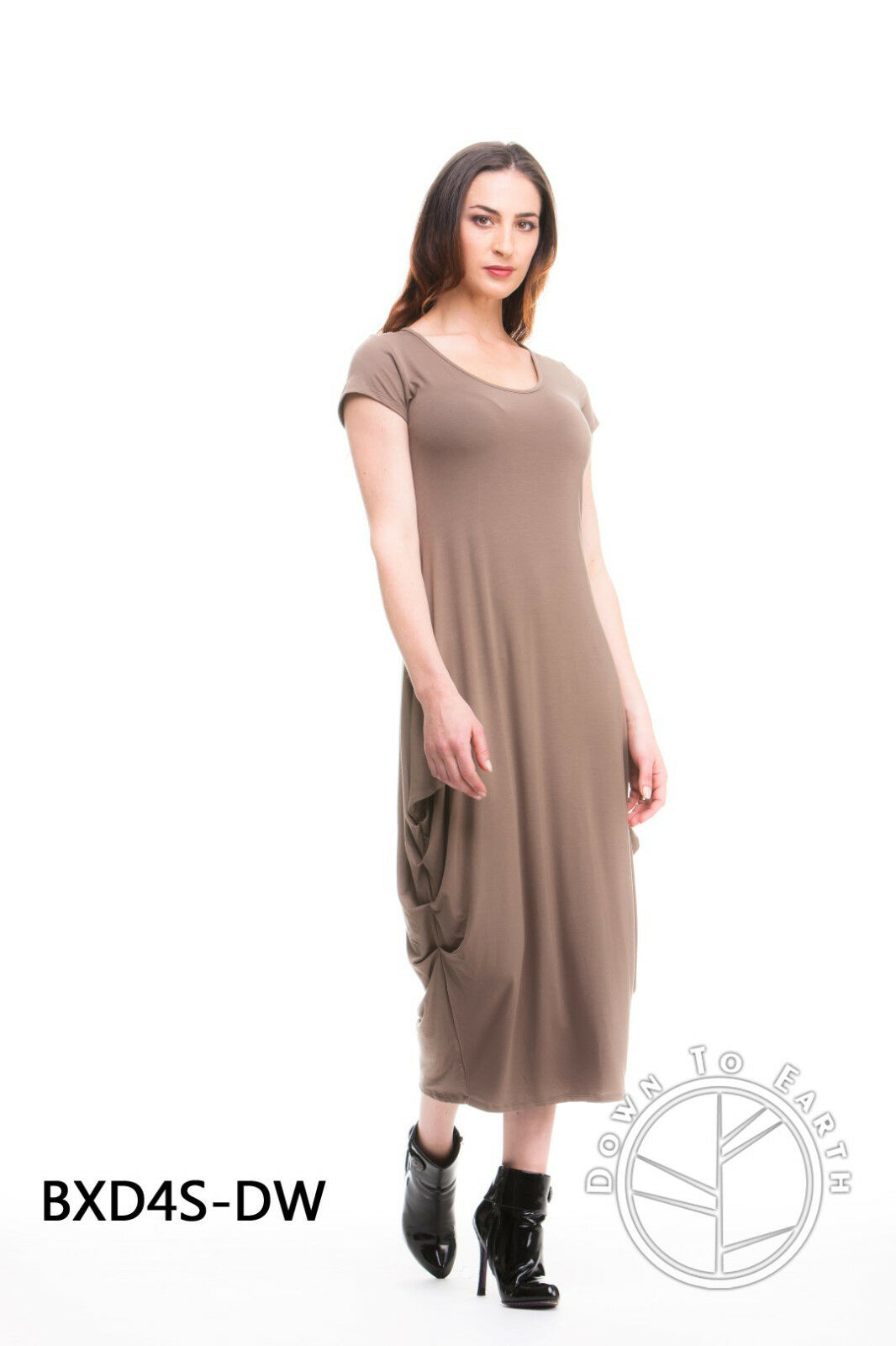 NEW COFFEE BAMBOO LONG DOWN TO EARTH DRESS SIZES 8,14,16