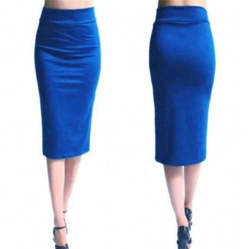 Women High Waist Fit Knee Length Straight Stretch Business OL Pencil Skirt Q