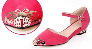 Ladies-Pointed-Shoes-Faux-Suede-Wedge-Low-Heels-Ankle-Strap-Sandals-AU-Size-S242