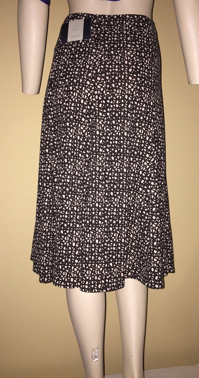 Liz Claiborne Sandstone Trail Print Brown Ivory Paneled A-Line Stretch Skirt XL