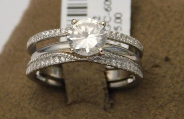 Solitaire Enhancer Jacket Diamonds Ring Guard Wrap 14k Gold White Wedding Band