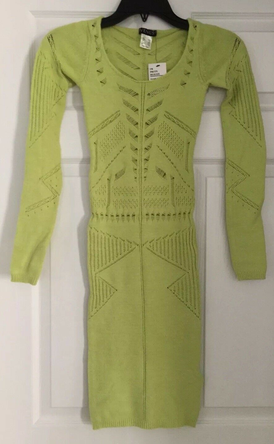 NWT Venus Neon Green/Yellow Sweater Dress with Cutouts - XS ...