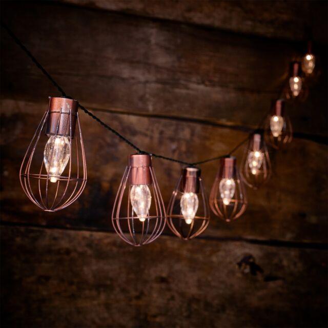 10 Led Solar Ed Rustic Cage String Lights Garden Outdoor Fairy Summer Lamp