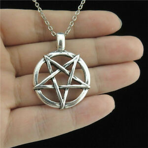 18 silver chain collar choker necklace pentagram pagan satanic star image is loading 18 034 silver chain collar choker necklace pentagram aloadofball Choice Image