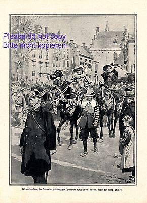 Treu Bekanntmachung Thronerbe Holland Xl Kunstdruck 1909 Den Haag Niederlande + Preisnachlass