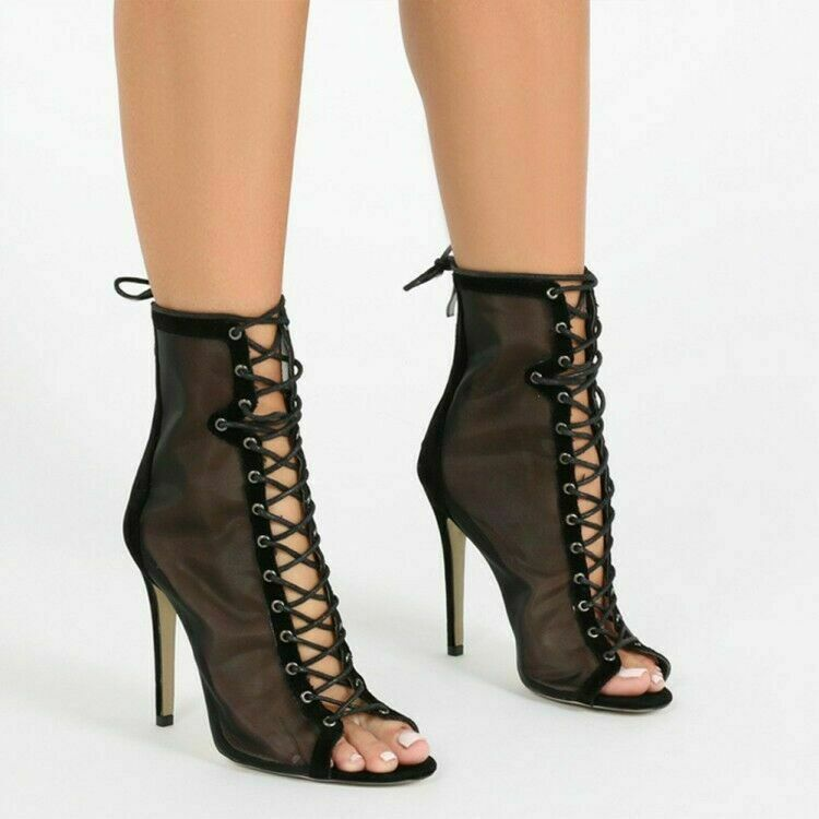Plus-Size Womens Lace-up Zip Elastic Elastic Elastic Ankle Boots Ladies Peep Toe Slim Heel shoes dcec31