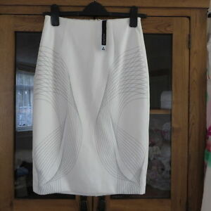 Aq/aq Ivory Exo Skirt With Spiral Design Size 8 Rrp £85 New üPpiges Design Kleidung & Accessoires
