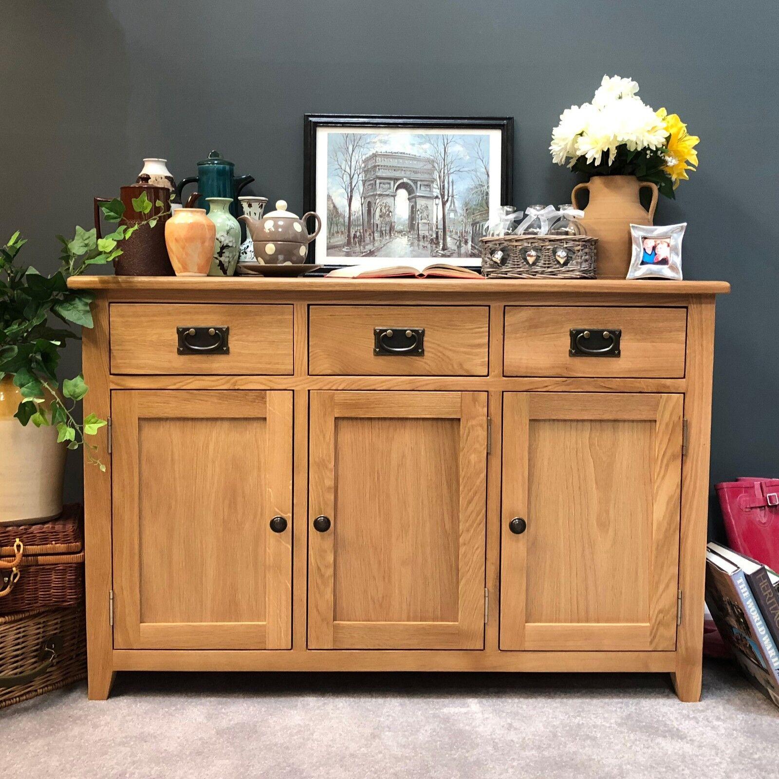 Large Oak Sideboard Light Oak Storage Cupboard Solid Wood Dresser NEW eBay