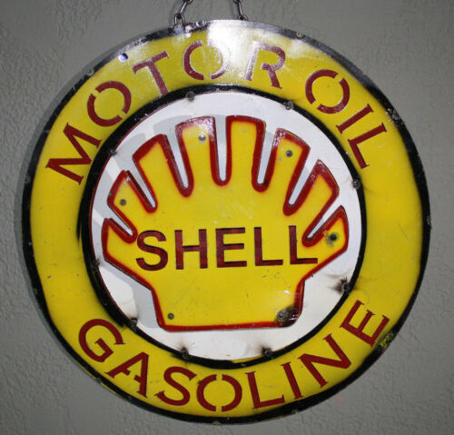 Metal SHELL GASOLINE Sign Gas Motor Oil Garage Man Cave Home Decor Recycled