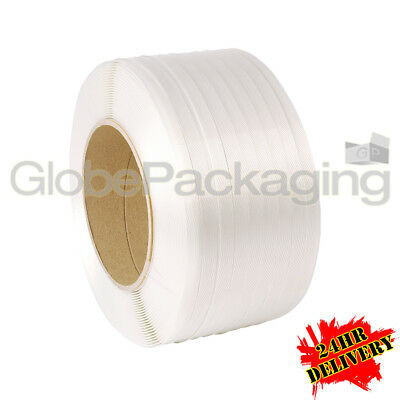 10 x 3000M WHITE MACHINE POLYPROP PALLET STRAPPING COILS REELS 12mm *24HR DEL*