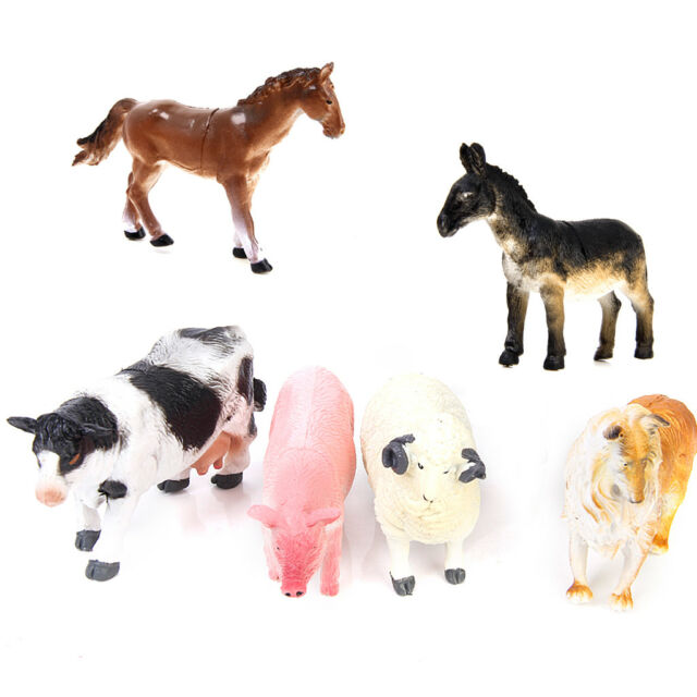 6pc Farm Animals Toy Figures Country Life Plastic Assorted