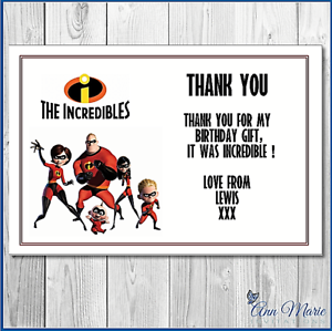10 x PERSONALISED BIRTHDAY THANK YOU  INCREDIBLES CARDS THANKS GIFT PARTY
