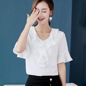 Top-T-Shirt-Ladies-Short-Sleeve-Blouse-Summer-Shirt-Chiffon-Loose-Women-Fashion