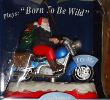 """SANTA on MOTORCYCLE Light Up Musical Christmas Ornament w/Box """"BORN TO BE WILD"""""""