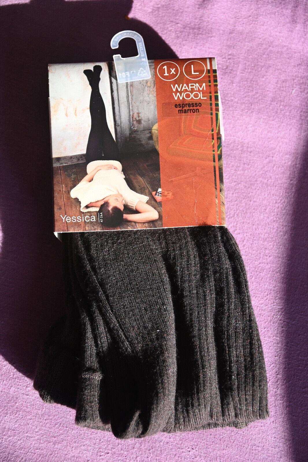 YESSICA Strumpfhose Warm WOOL, espresso, Gr. L 44/46