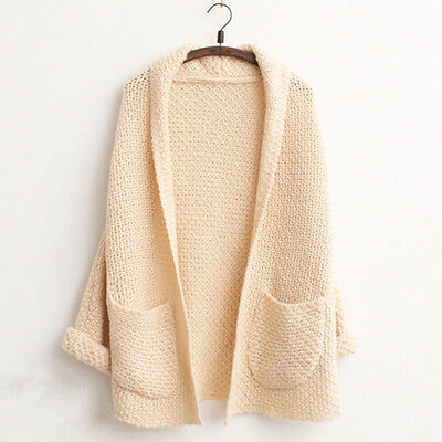 Women Oversize Loose Knitted Baggy Sweater Long Sleeve Top Cardigan Outwear Coat