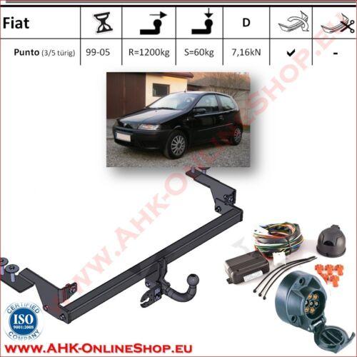 Gancio traino Fiat Punto II Hatchback 99-05 elettrico 7-poli PDC OMOLOGAZIONE