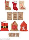 Large Hessian Jute Felt Red Santa Sacks Stockings Xmas Gift Present Bag